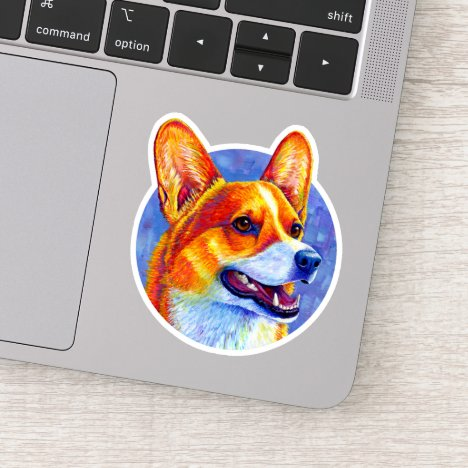 Colorful Pembroke Welsh Corgi Dog Vinyl Sticker