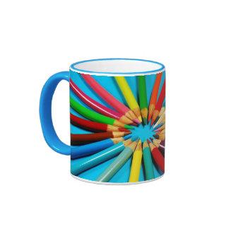 Colorful pencil crayon print coffee mug