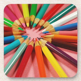 Colorful pencil crayons in a circle coasters