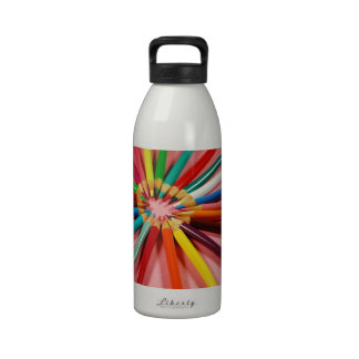Colorful pencil crayons in a circle reusable water bottle