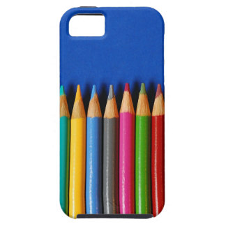 Colorful pencil crayons on blue background iPhone SE/5/5s case