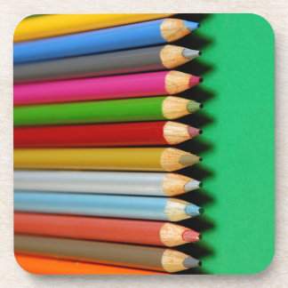 Colorful pencil crayons pattern beverage coasters
