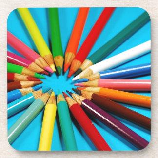 Colorful pencil crayons pattern coaster