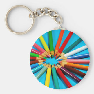 Colorful pencil crayons pattern keychain