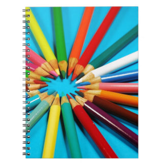 Colorful pencil crayons pattern notebook