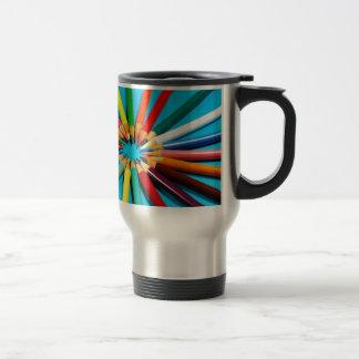 Colorful pencil crayons pattern travel mug