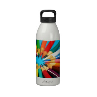 Colorful pencil crayons pattern drinking bottles