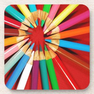 Colorful pencil crayons print coasters