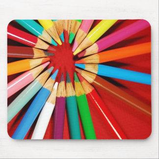 Colorful pencil crayons print mousepad