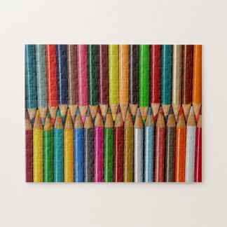 Colorful pencil crayons print puzzle