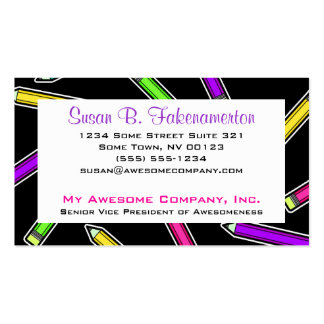 Colorful Pencil on Black Double-Sided Standard Business Cards (Pack Of 100)