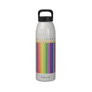 Colorful Pencils In A Row Water Bottles