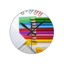 Colorful pencils round clock