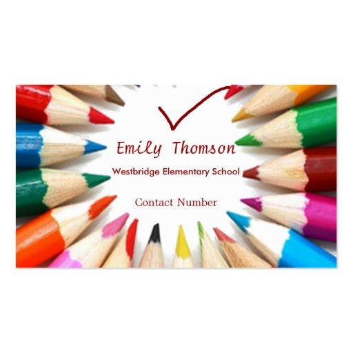 Colorful Pencils Teachers Business Card