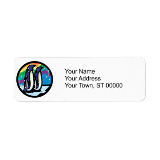 colorful penguin circle design label