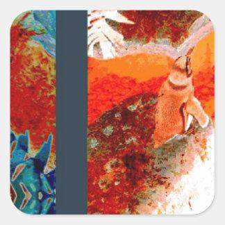 colorful Penguin Design Square Stickers