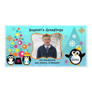 Colorful Penguins Holiday Greetings Photo Card