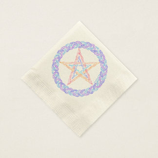 Colorful Pentagram Pagan Wicca Mystic Party Napkin