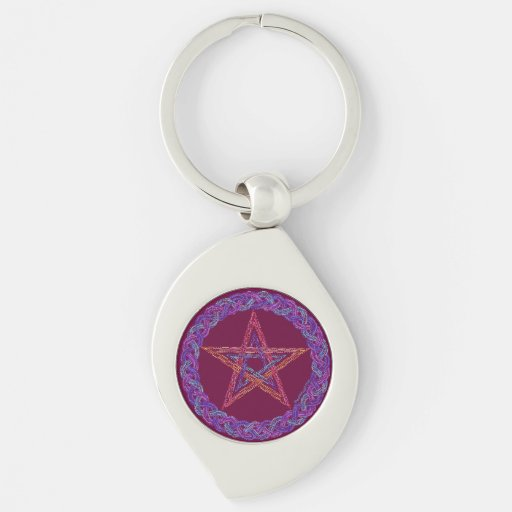 Colorful Pentagram Pagan Wicca New Age Key Ring Keychains