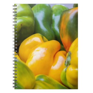 colorful pepperoni in autumn spiral notebook