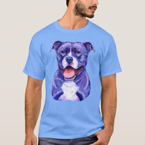 Colorful Peppy Purple Pitbull Terrier Dog T-Shirt