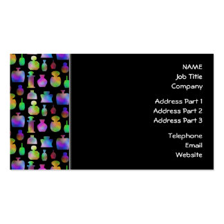 Colorful Perfume Bottles Pattern. Business Card Templates