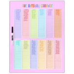 Colorful Perpetual Birthday Calendar Dry-Erase Board