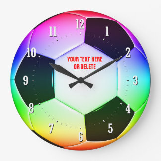 Colorful Personalizable Soccer Football | Sports Large Clock