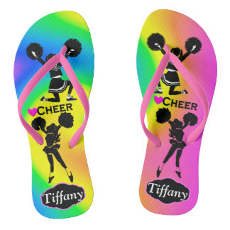 COLORFUL PERSONALIZED CHEERLEADING FLIP FLOPS
