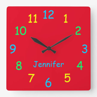 Colorful Personalized Clock Custom Cheery Red