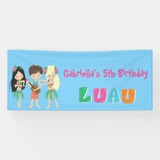 Colorful Personalized Luau Kids Party Banner