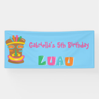 Colorful Personalized Luau Party Tiki Banner