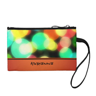 Colorful Personalized Orange Bokeh Design Coin Wallet