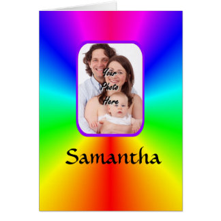Colorful personalized photo background card