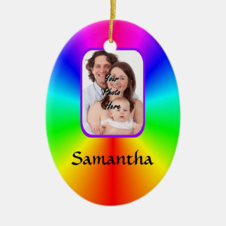 Colorful personalized photo background ceramic ornament