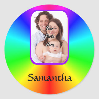 Colorful personalized photo background classic round sticker