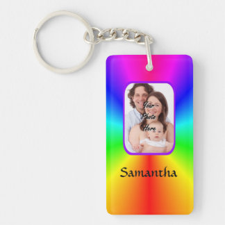 Colorful personalized photo background keychain