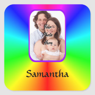 Colorful personalized photo background square sticker