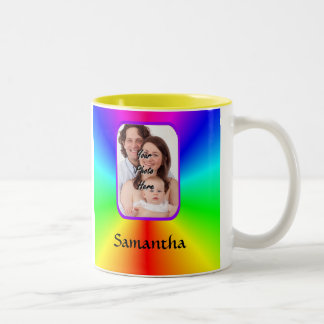 Colorful personalized photo background Two-Tone coffee mug