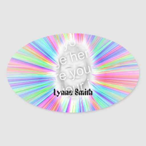 Colorful Personalized Photo Oval Sticker