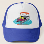 "Colorful Personalized Pontoon Boat Cap<br><div class=""desc"">This trucker cap is perfect for wearing on sunny days out on the water. It features an illustration of a pontoon boat in bright colors on the front with a space below for you to add your favorite captain&#39;s name, the name of your boat or a short message. This baseball...</div>"