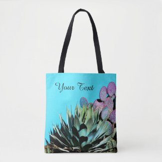 Colorful Personalized Tote, Agave & Cactus