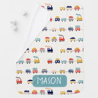 Colorful Personalized Train Baby Blanket