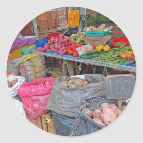 Colorful Peruvian Potatoes Classic Round Sticker