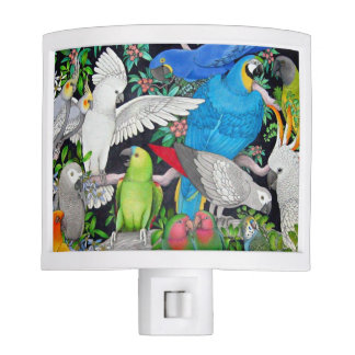 Colorful Pet Parrots of the World Night Light