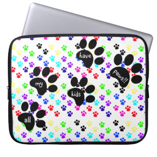 Colorful Pet Paw Prints, All My Kids Have Paws! Laptop Sleeve