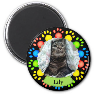 Colorful Pet Paw Prints Custom 2 Inch Round Magnet