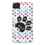 Colorful Pet Prints, All My Kids Have Paws!! iPhone 4 Covers