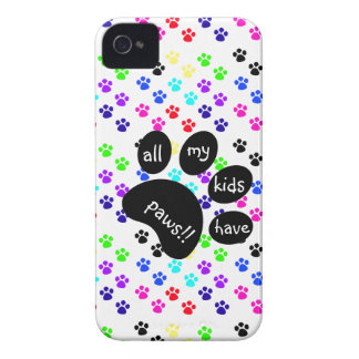 Colorful Pet Prints, All My Kids Have Paws!! iPhone 4 Case