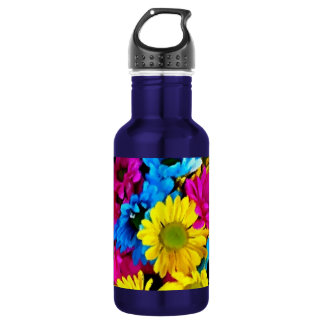 Colorful Petals Daisy Blooms Stainless Steel Water Bottle